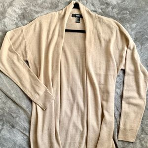 Forever 21 | Tan open long knit cardigan